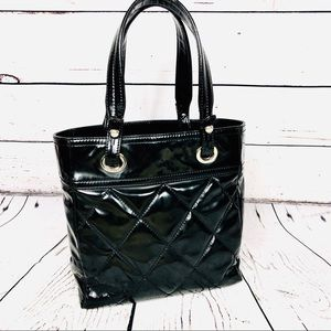 CHANEL Paris Biarritz Black Leather Tote Bag